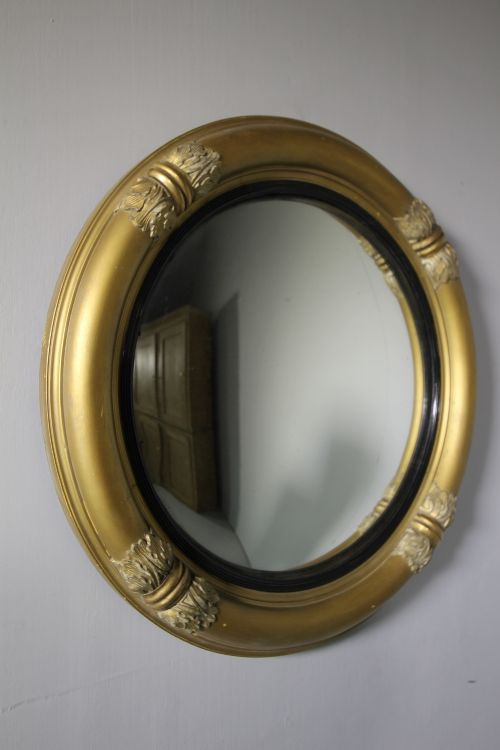 english 19th century antique gilt convex mirror