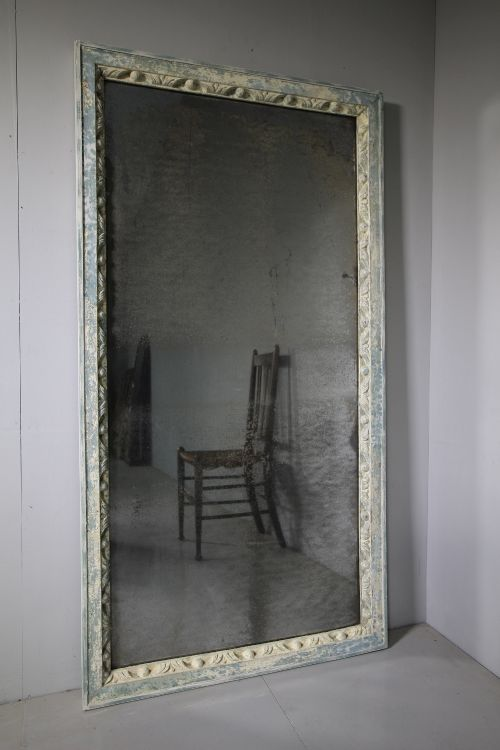 large 18th century antique carved painted mirror