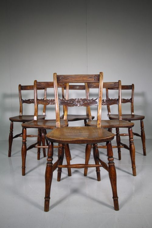 set of six william iv antique bar back dining chairs