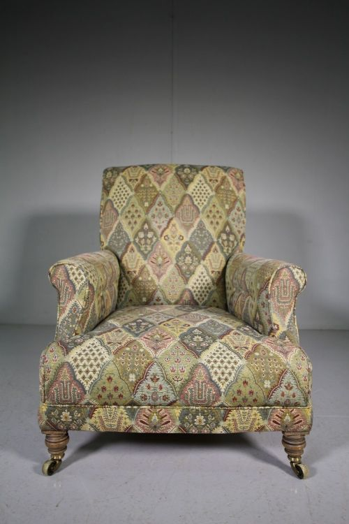 quality english 19th century antique upholstered armchair