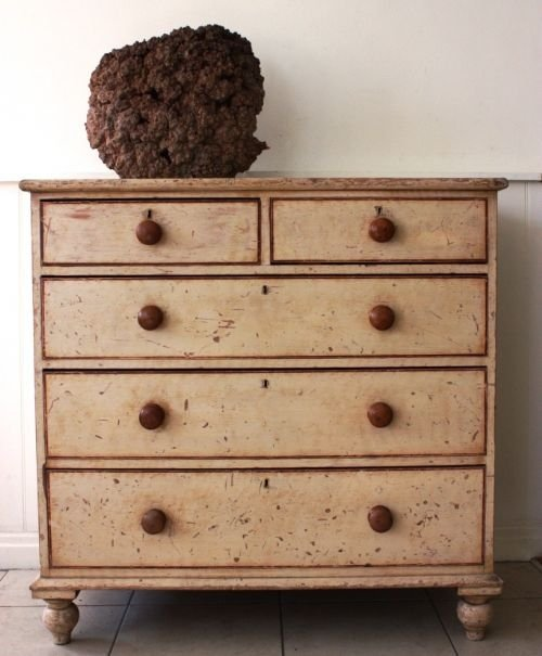 Original Antique Painted Pine Chest Of Drawers