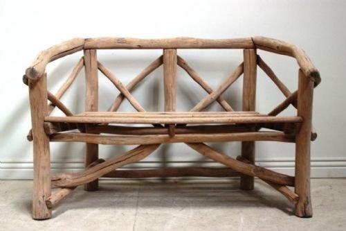 antique rustic oak garden bench