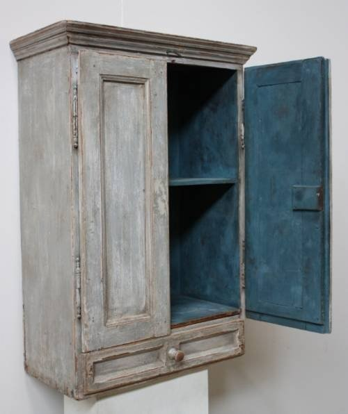 Declaration - Antique Austrian Painted Pine Wall Cupboard 45117