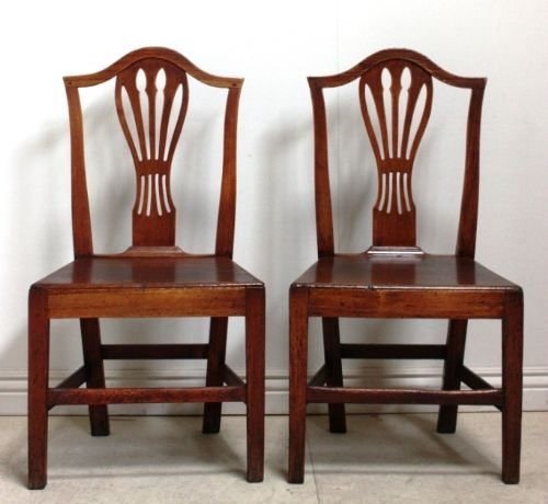 pair of georgian antique elm country chairs - Pair Of Georgian Antique Elm Country Chairs 46143