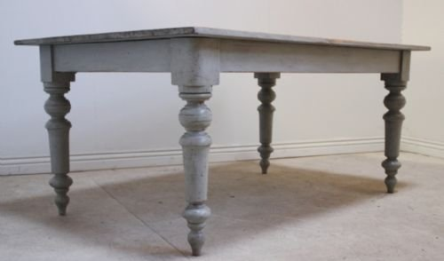 Beautiful Antique Victorian Grey Pine Diningkitchen Table