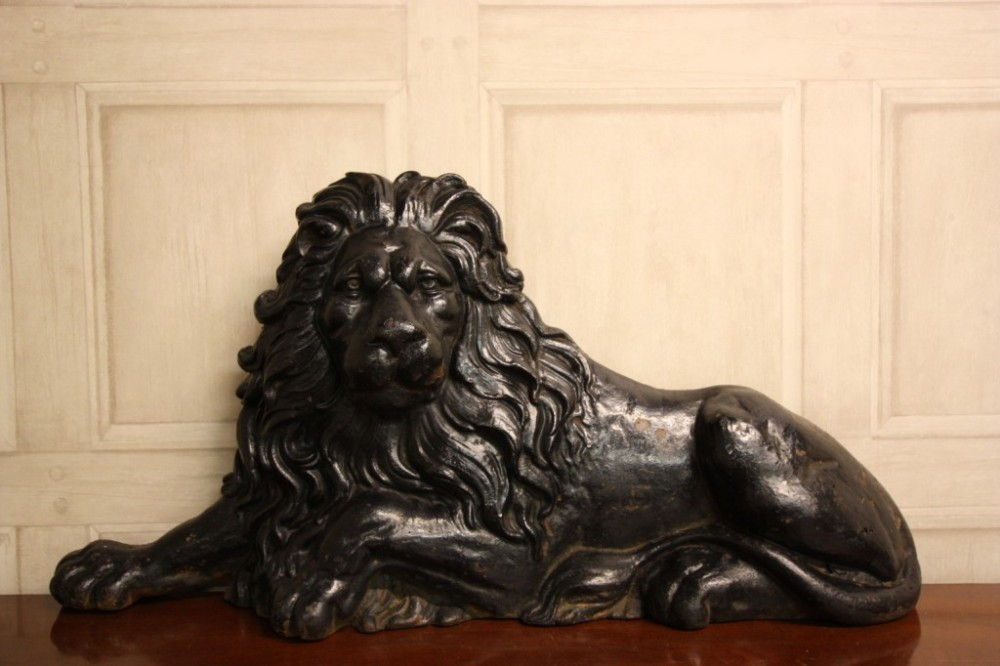 handsome antique cast iron lion door stop