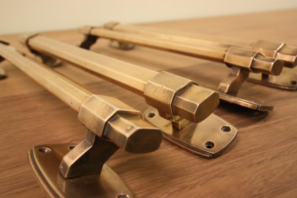 set of four antique art deco brass door handles - Set Of Four Antique Art Deco Brass Door Handles 234727