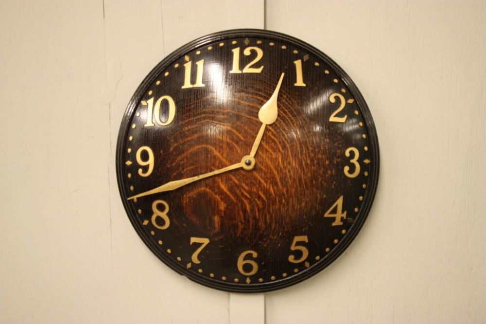 Heals Antique Oak Convex Wall Clock 317224