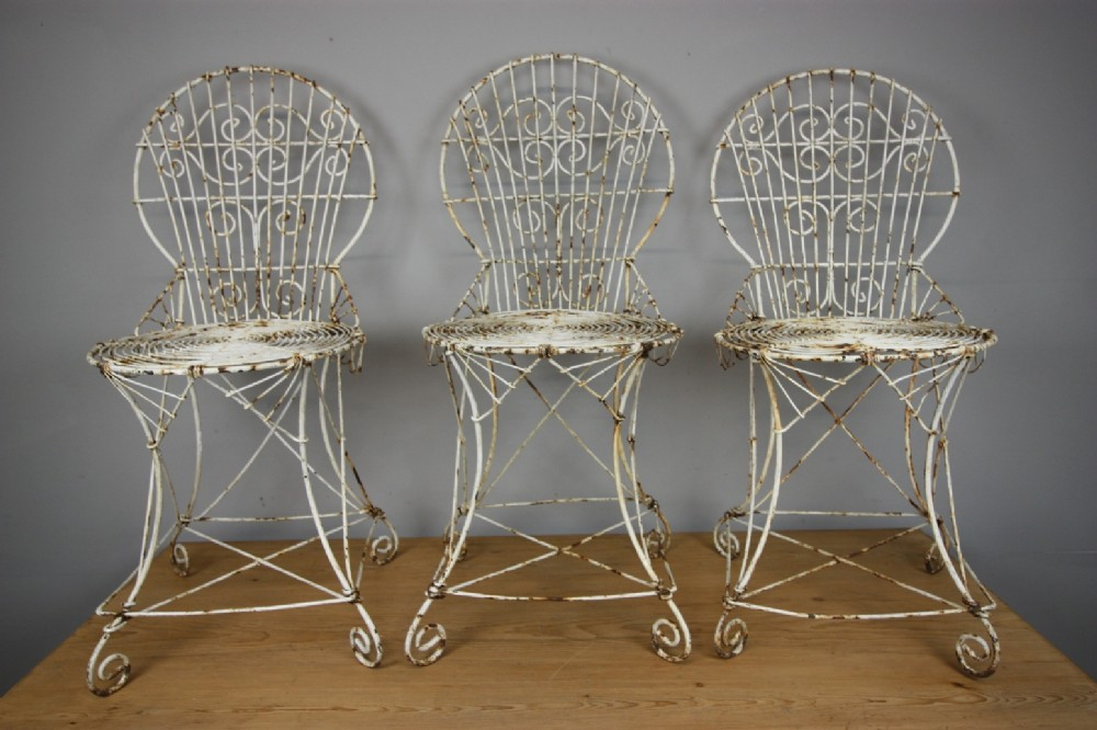 Set Of Four 19th C English Antique Wire Garden Chairs