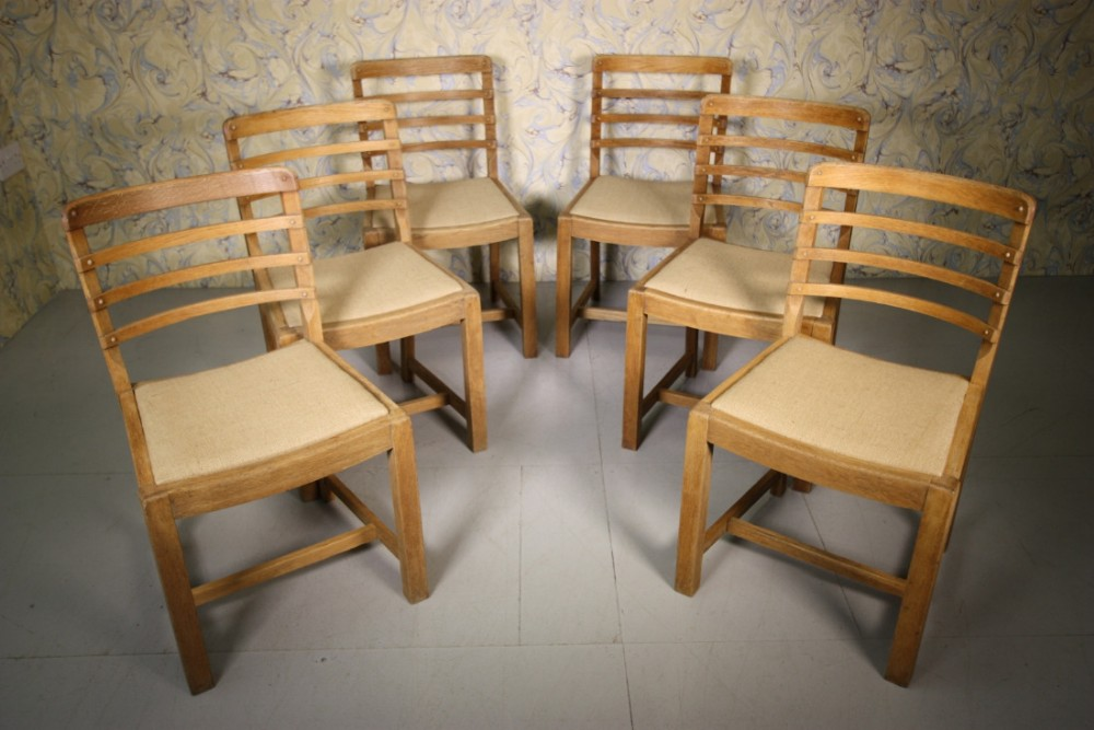 Set Of Six 1930s Heals Oak Dining Chairs