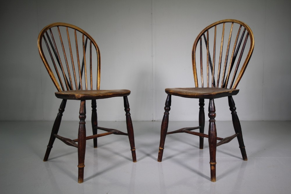pair of english early 19th century hoop back antique kitchen chairs