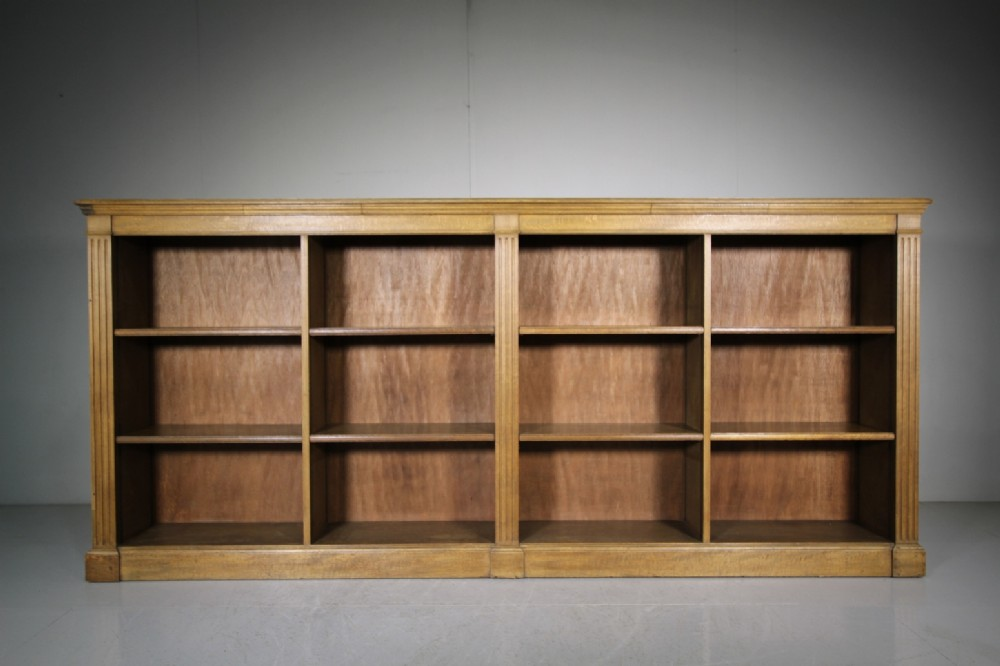 large english 19th century antique oak open bookcase