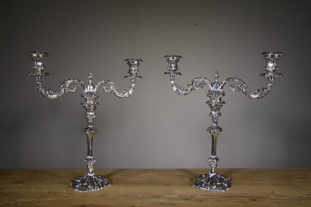 pair of large walker hall antique silver plate candelabra