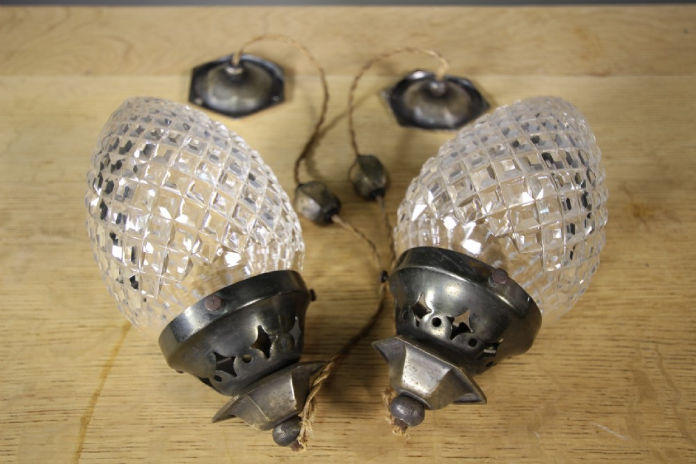 pair of antique holophane pagoda glass light fittings