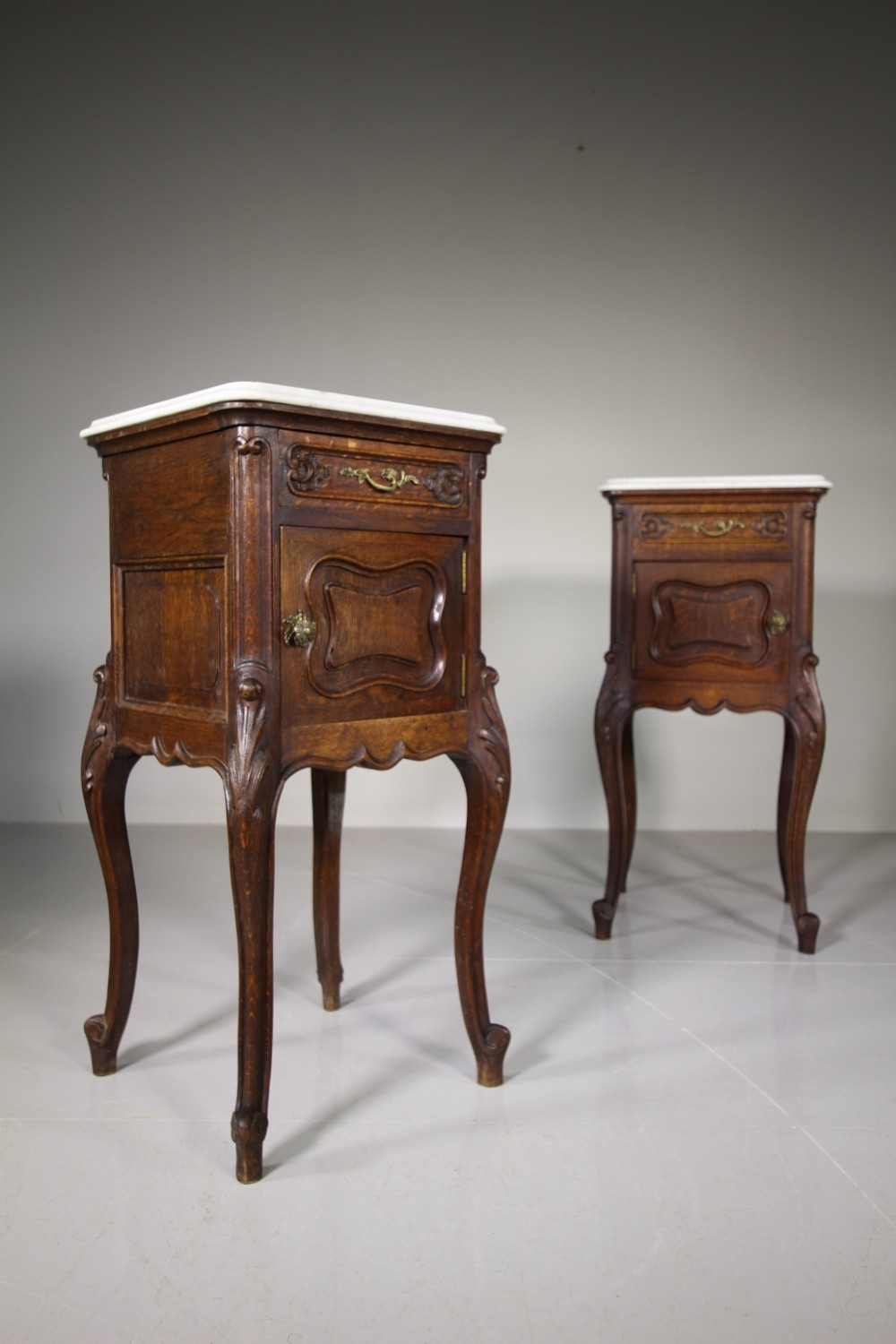 pair of french antique oak bedside cupboards