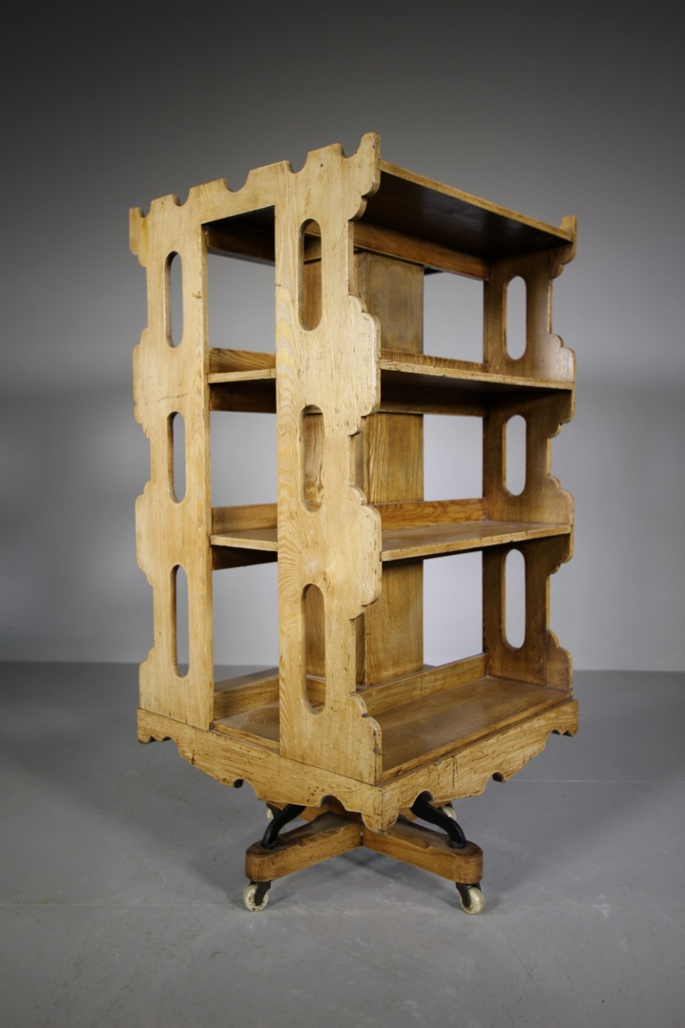 large 19th century antique revolving bookcase in pale ash