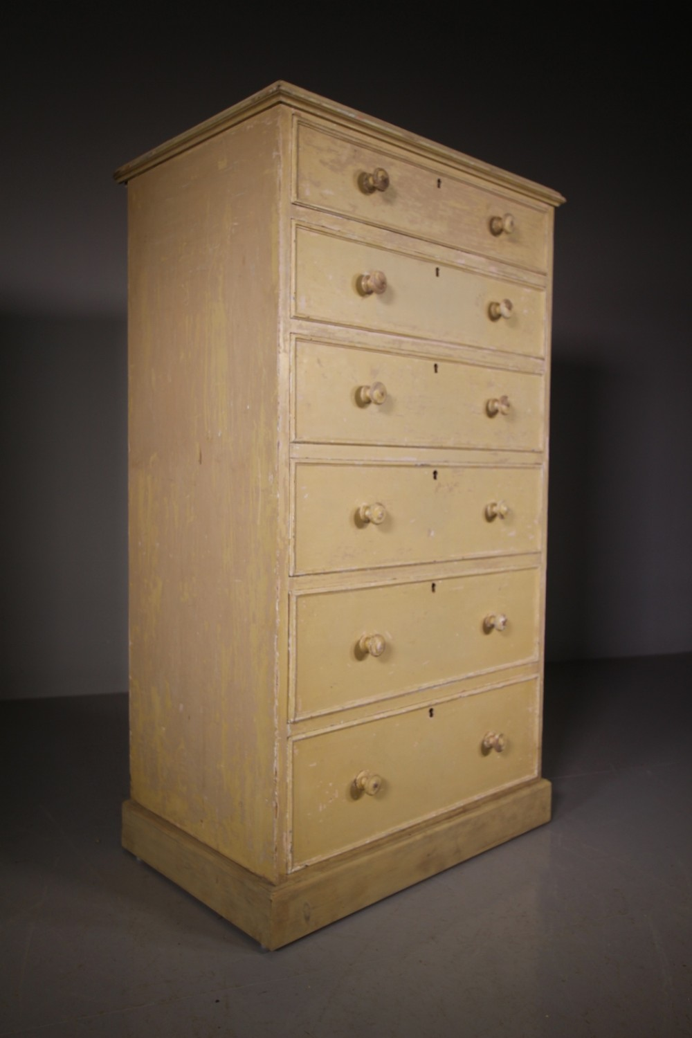 tall original painted pine antique chest of drawers
