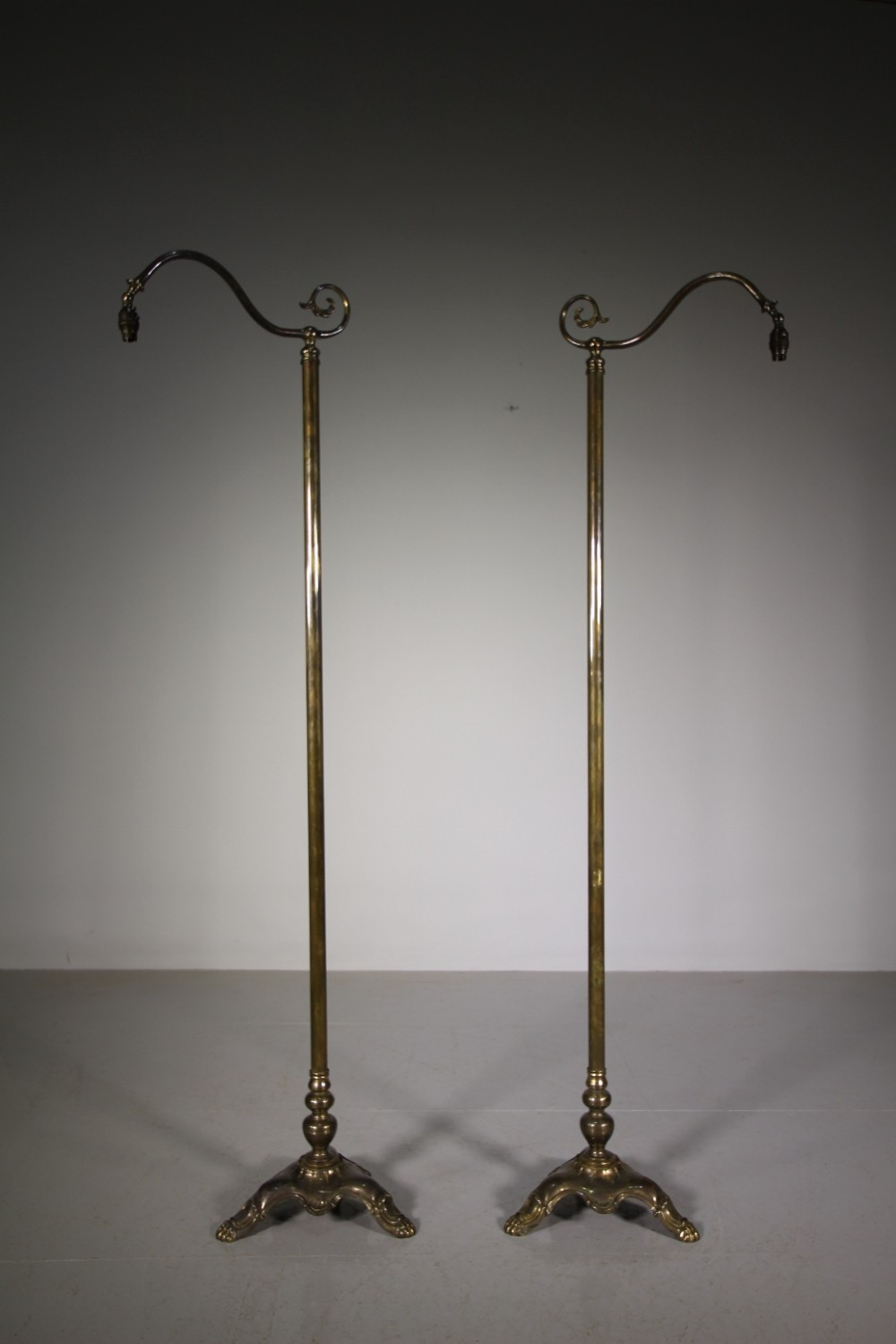 pair of 1930's officers club brass floor lamps