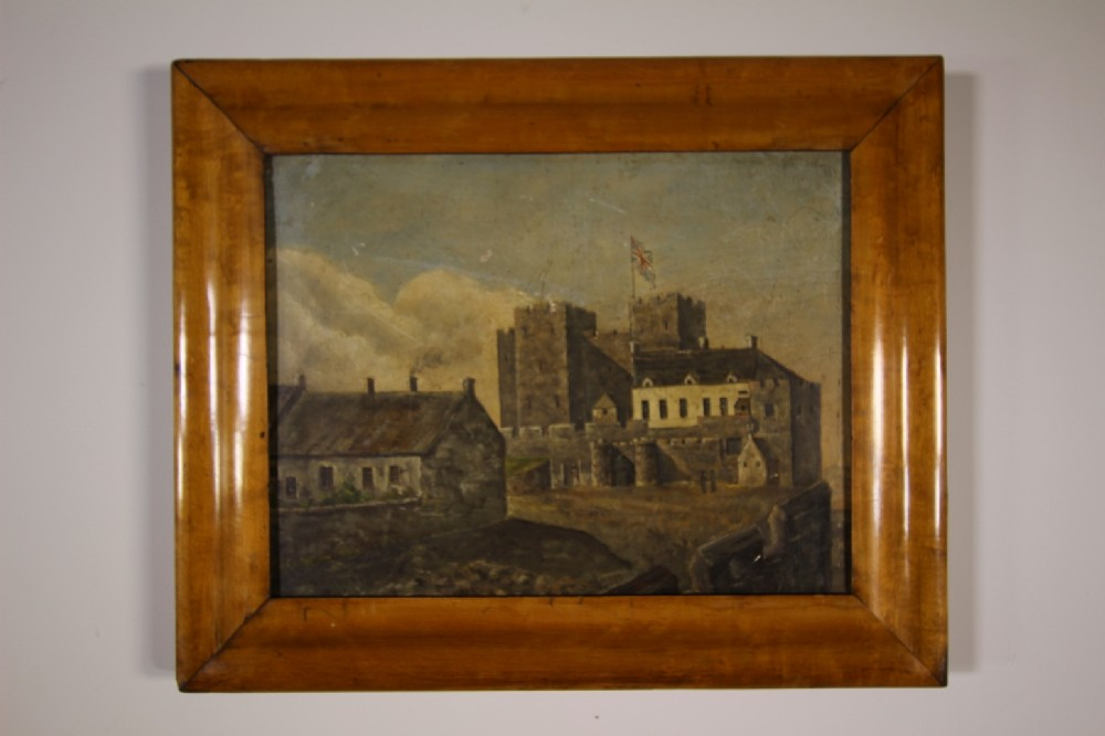 english naive antique painting isle of man castle rushen