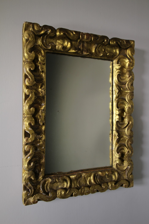18th century carved pine gilt antique mirror