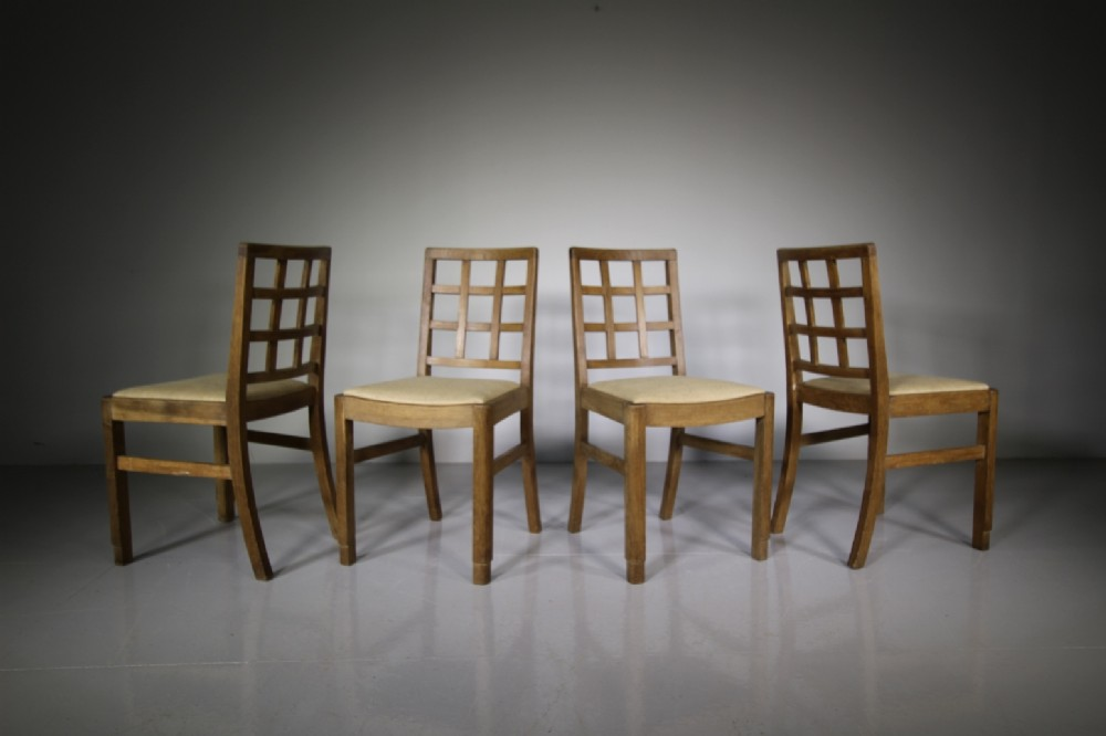 set of four heals 1920's oak dining chairs