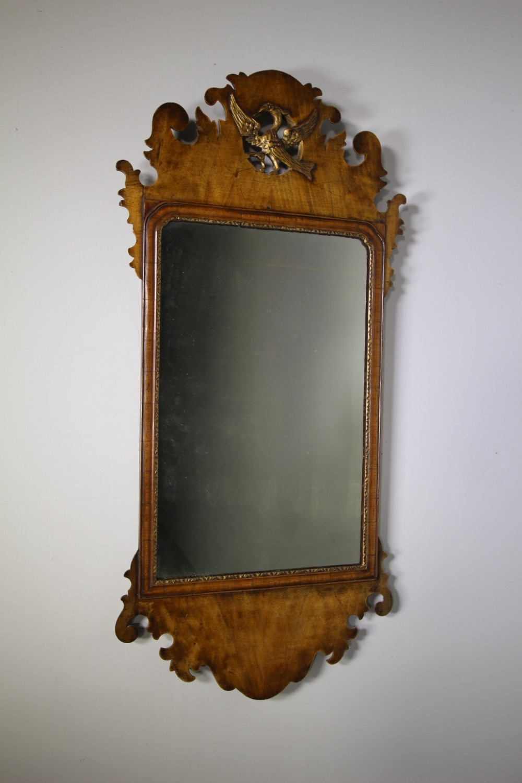 english 19th century antique walnut shapely wall mirror