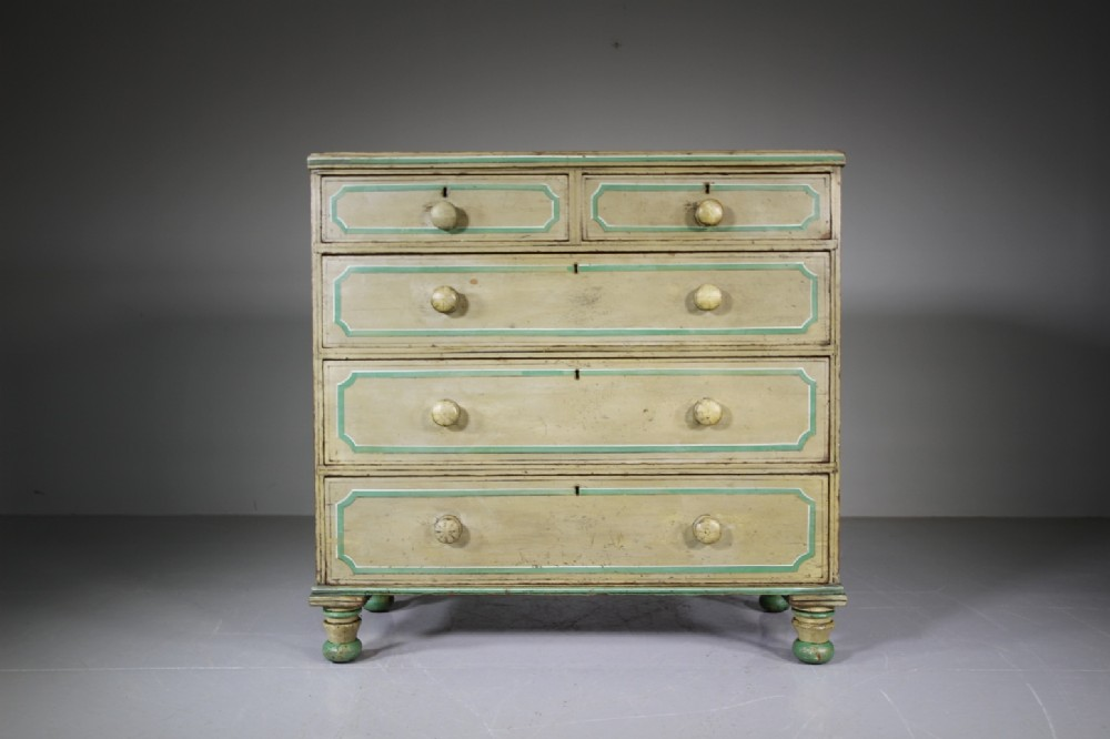 fabulous original painted pine regency antique chest of drawers