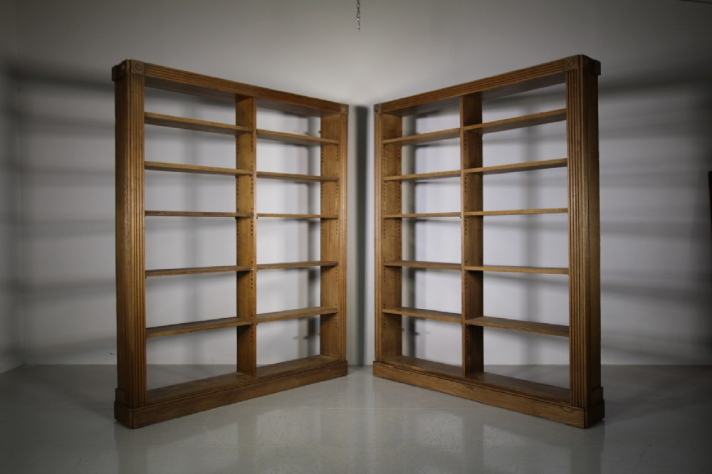 pair of english 19th century antique oak open bookcases