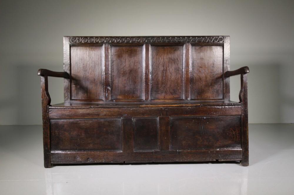 17th century english period oak antique box seat settle
