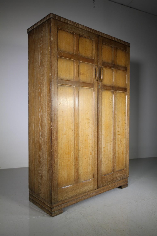 1930s oak gentlemen's wardrobe by waring gillows