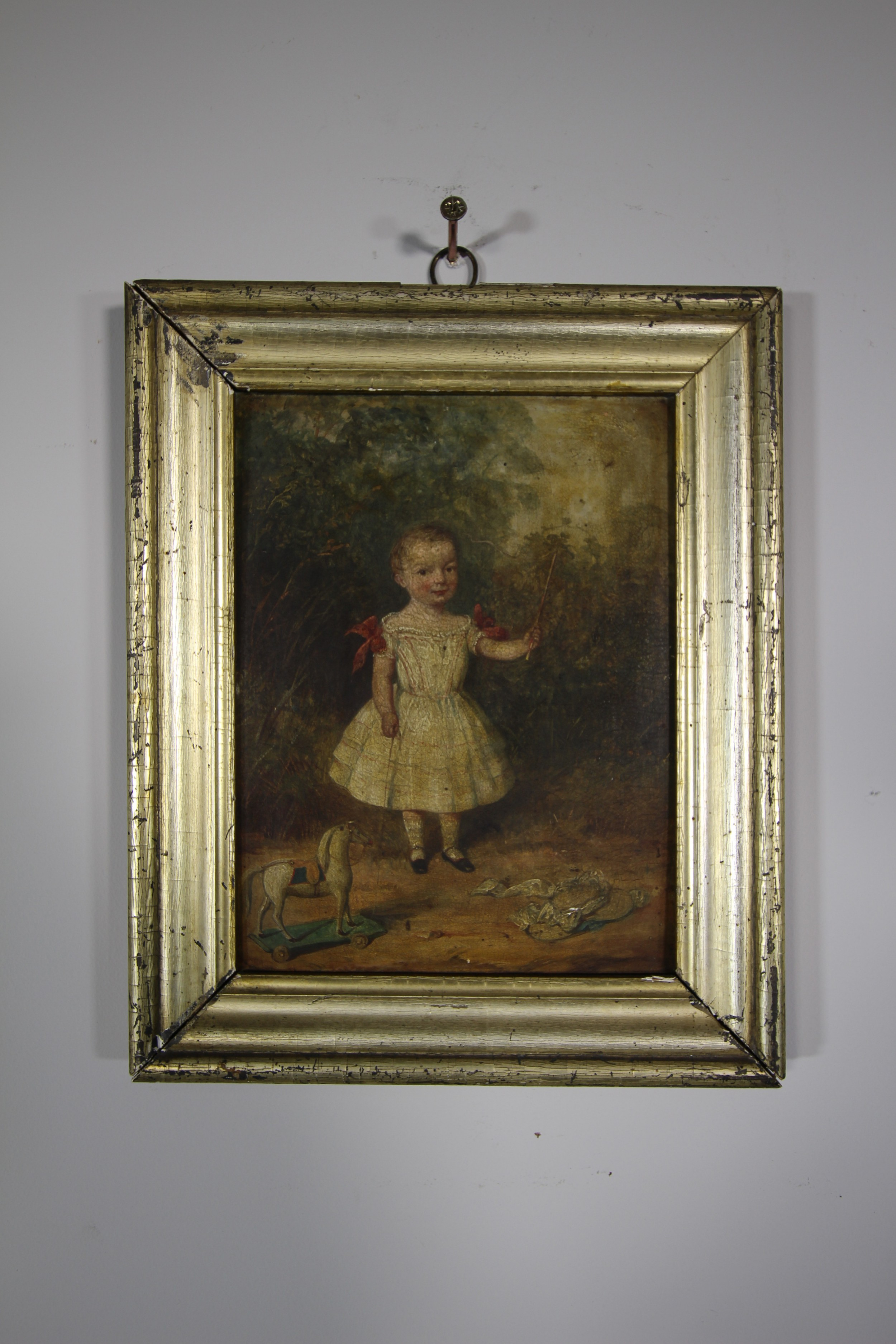 english 18th century antique oil painting in gilt frame