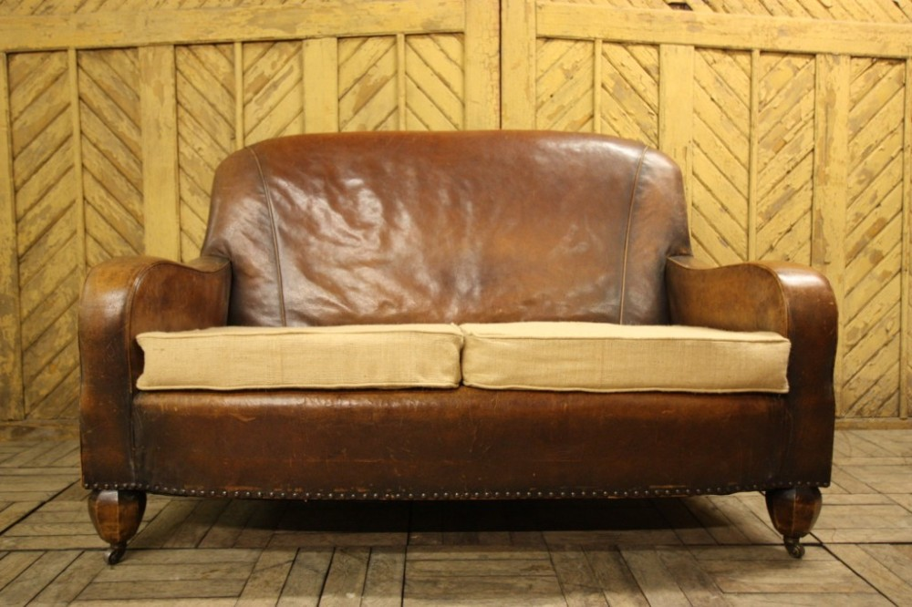 English Antique Brown Leather Sofa
