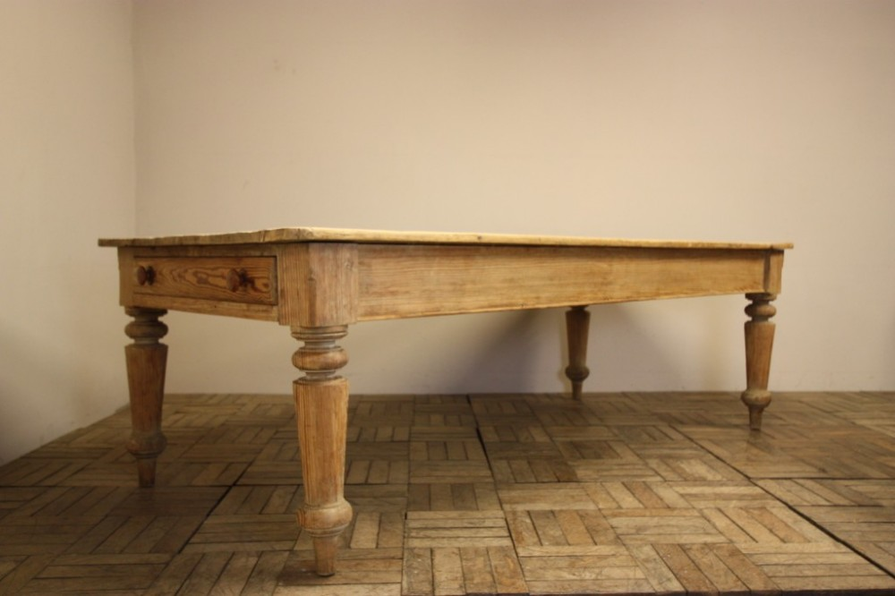 Large Country House Antique Pine Kitchen Dining Table 308993