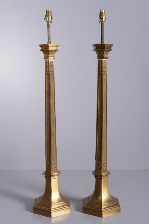 Pair Of Antique Tall Brass Table Lamps 280395