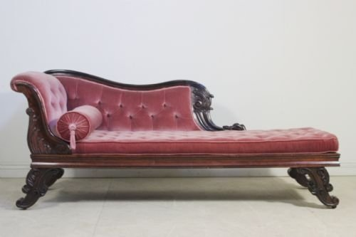 Regency antique chaise longue 64482 for Antique victorian chaise longue