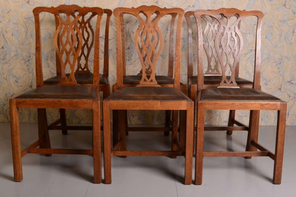 Set Of Six Antique Chippendale Style Oak Dining Chairs