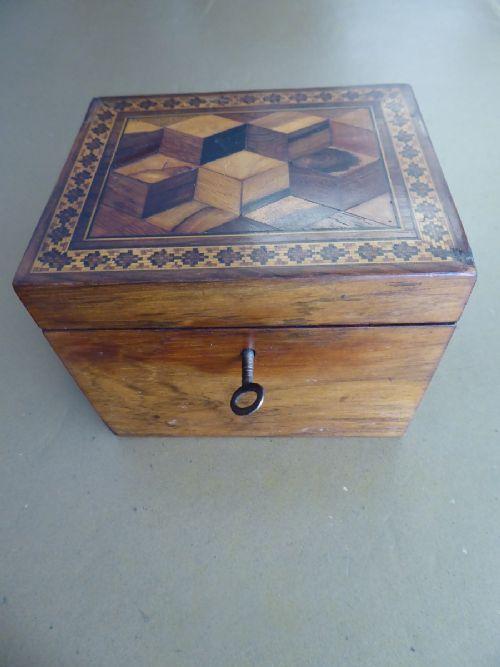19thc tunbridge ware tea caddy