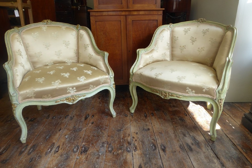 pair 19th century painted french chairs
