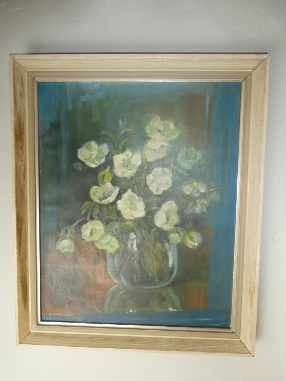 oil painting vase of flowers