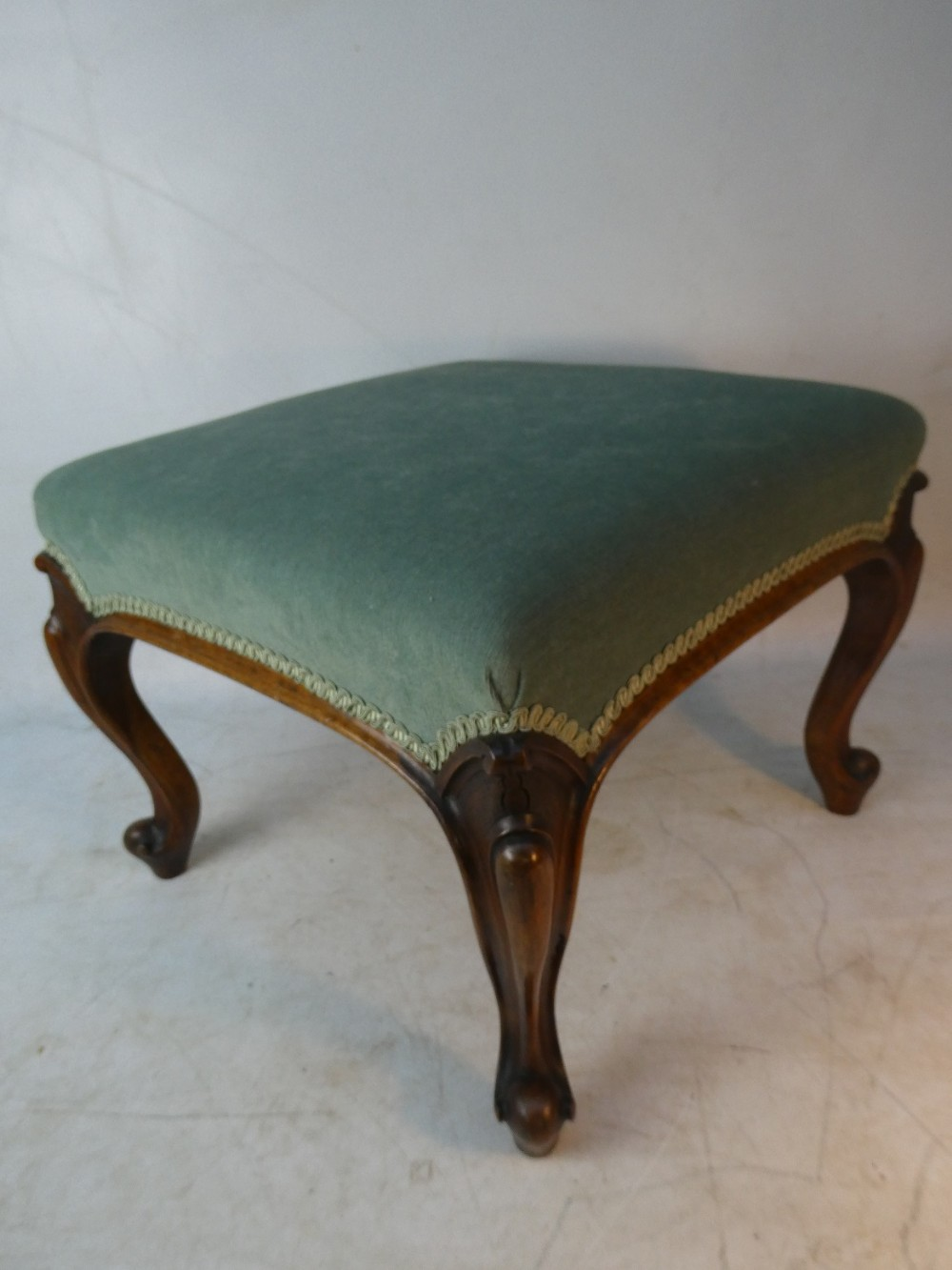 strong 19th c upholstered stool