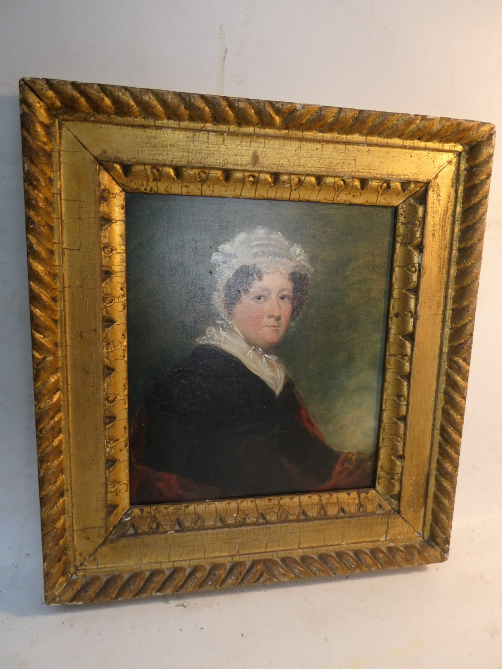 small 19thc oil painting portrait of a lady