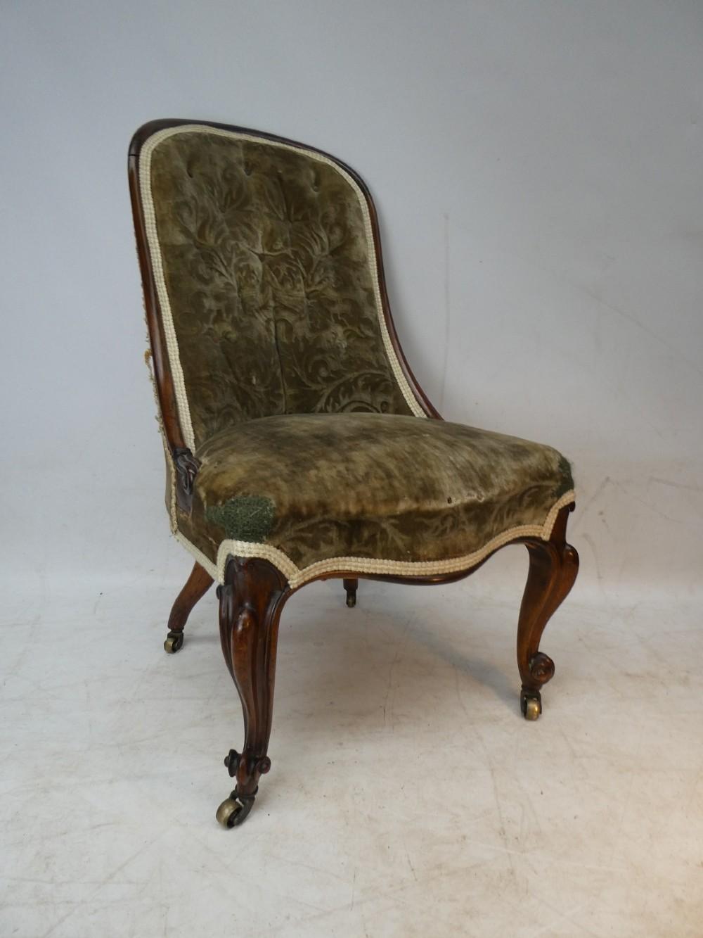 19thc rosewood slipper chair