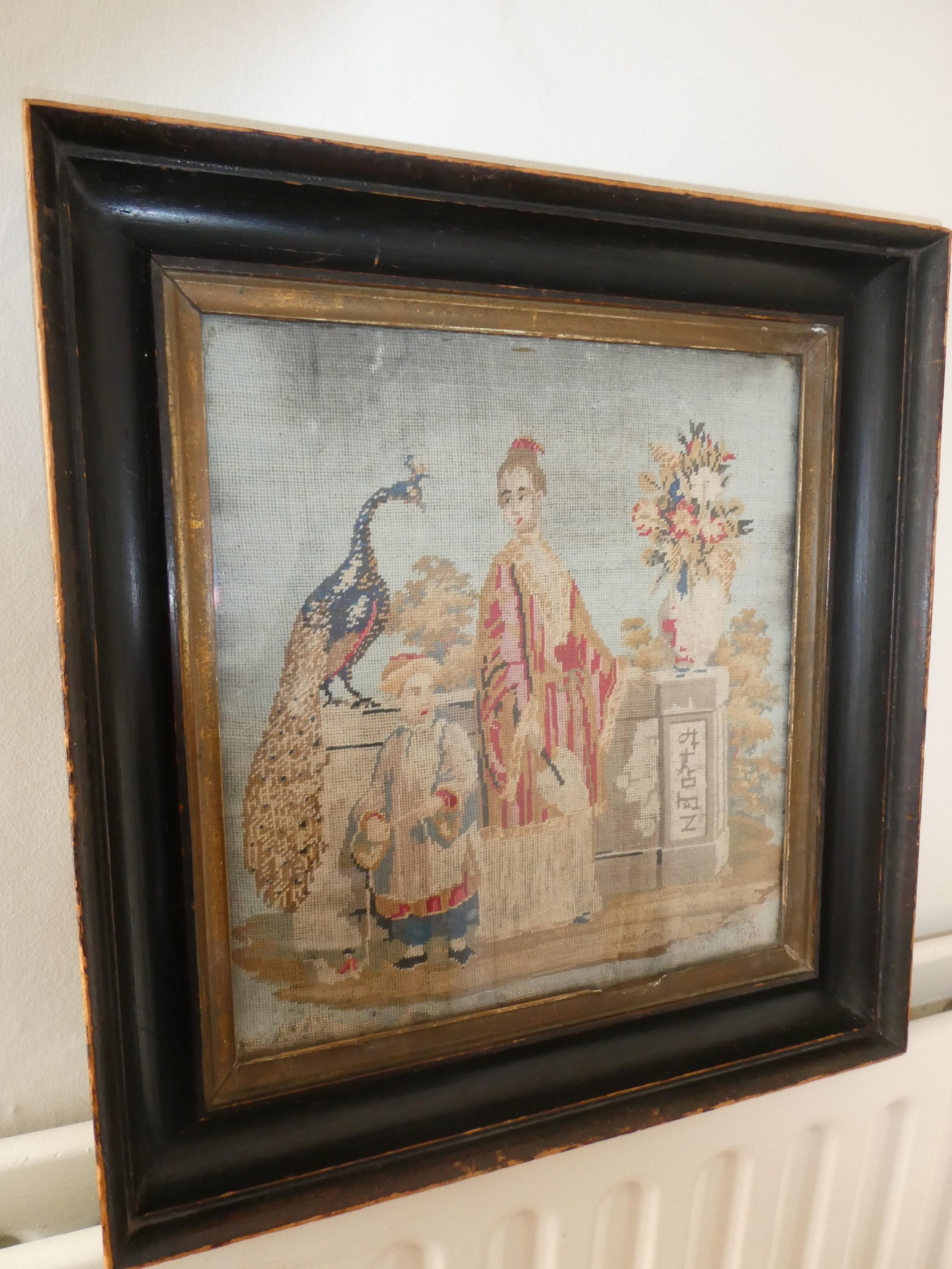 19thc oriental scene needlepoint