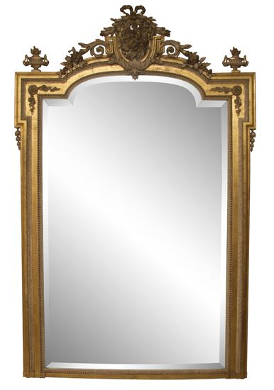 a superb large antique gilded overmantle wall mirror