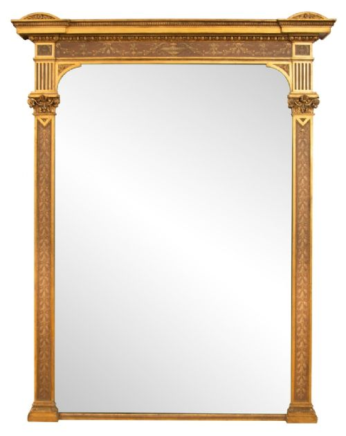 large antique gilded painted overmantle mirror c1800
