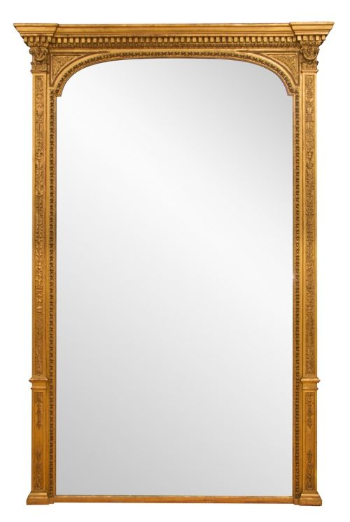 antique english gilded overmantle mirror with original mercury glass