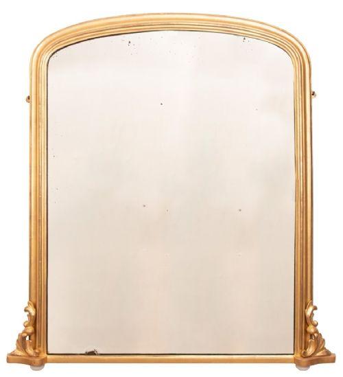 antique english giltwood overmantle mirror c1880