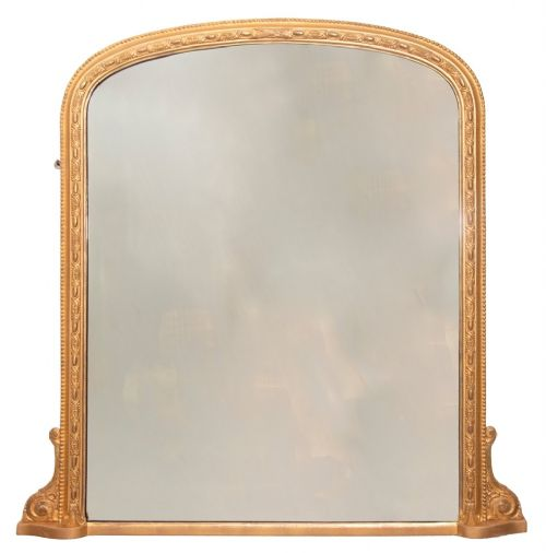antique english gilded overmantle mirror c1890