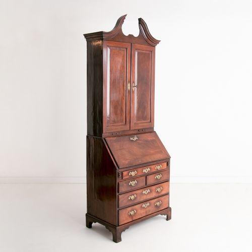 early george ii mahogany bureau bookcase