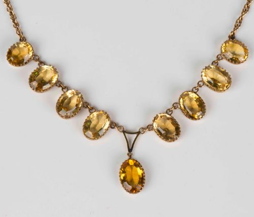 citrine victorian necklace 9ct gold